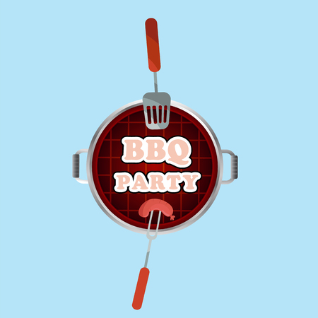 BBQ Party Grill Top View Background Vector Image Illustration
