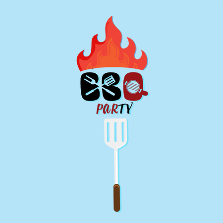 BBQ Party Turner With Fire Background Vector Image