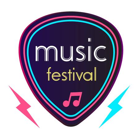 Neon Music Festival Guitar Pick Background Vector Image