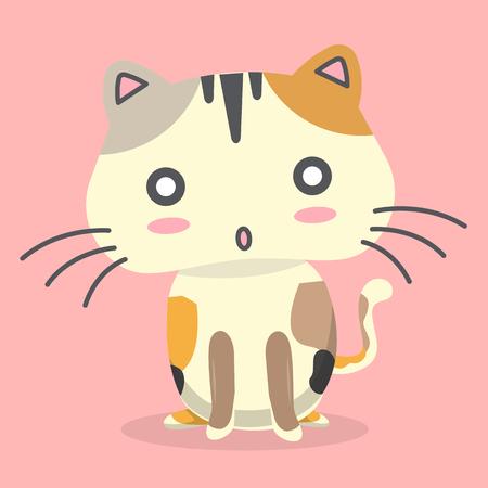 Cartoon Cat Surprisingly Emotion Pink Background Vector Image