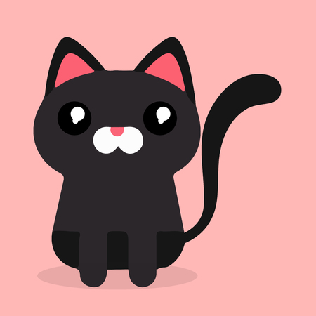 Cartoon Black Cat Sad Emotion Pink Background Vector Image Ilustração