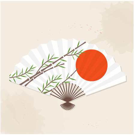 Japanese Fan Sun Bamboo Painting Vector Image Illustration
