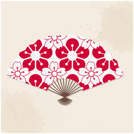 Japanese Fan Red And White Sakura Painting Vector Image Ilustrace