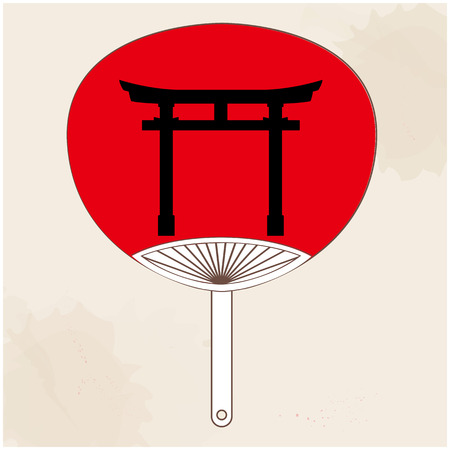 Japanese Fan Japanese Gate Painting Vector Image