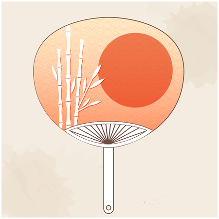 Japanese Fan Bamboo Sunset Background Vector Image