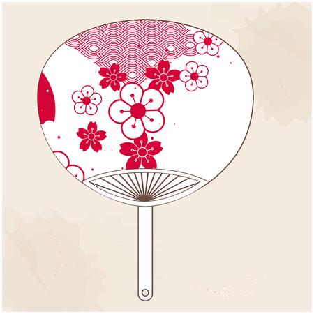 Japanese Fan Red White Sakura Background Vector Image
