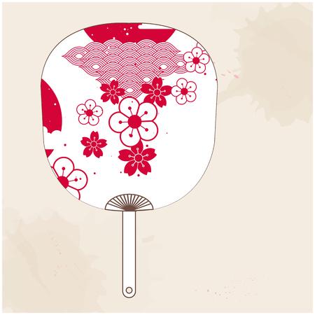 Japanese Fan Red White Sakura Vector Image