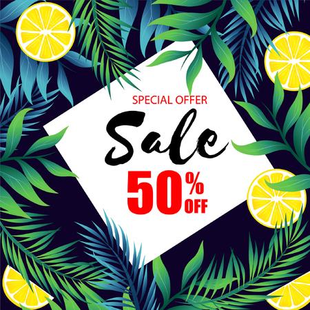 Special Offer Sale 50% Off Jungle Leaf And Lemon Background