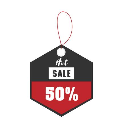 Price Tag Hot Sale 50% Off Vector Image Ilustração