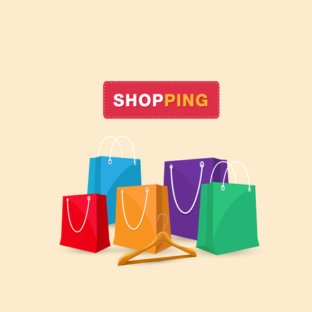 Shopping Hanger Shopping Bag Background Vector Image