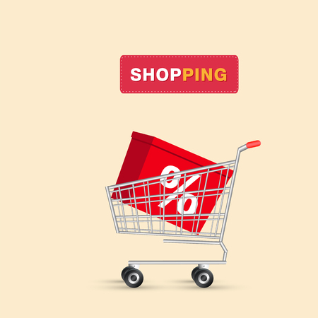 Shopping % Box In Cart Background Vector Image
