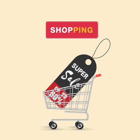 Shopping Super Sale Up To 50% In Cart Background Vector Image