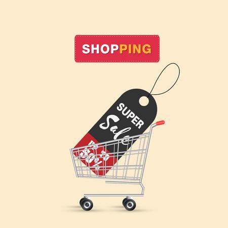 Einkaufen Super Sale Bis zu 50% im Warenkorb Hintergrund Vektorbild