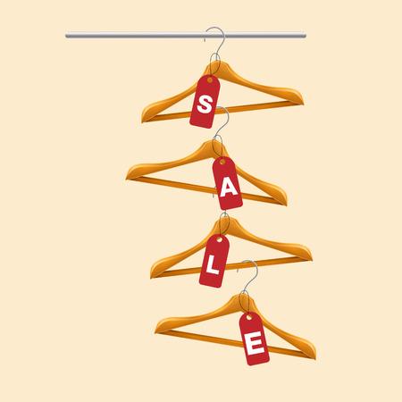 Sale Clothes Hanger Red Tag Sale Background Vector Image Illustration