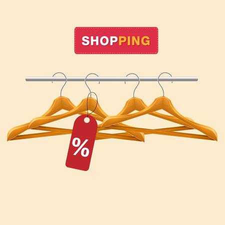 Shopping Clothes Hanger % Tag Background Vector Image Illusztráció