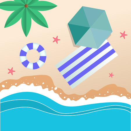 Summer Beach Umbrella Blue Beach Mat Swimming Tire Background Vector Image