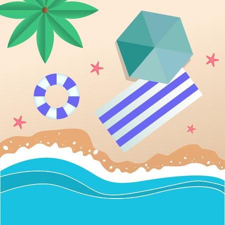 Summer Beach Umbrella Blue Beach Mat Swimming Tire Background Vector Image