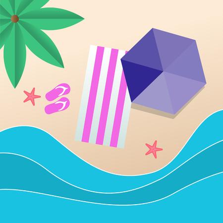 Summer Beach Umbrella Purple Beach Mat Background Vector Image