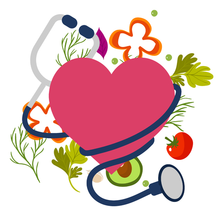 Healthy Stethoscope Icon With Heart Vector Image