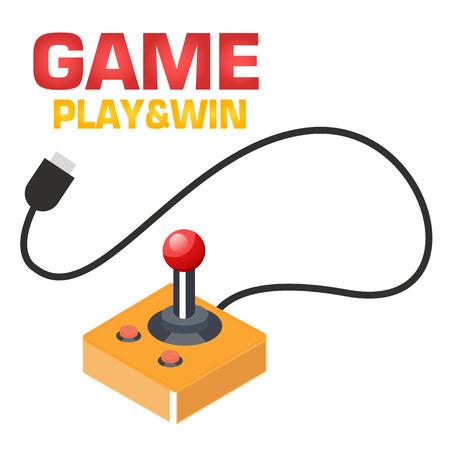 Game Play & Win Retro Joystick Background Vector Image