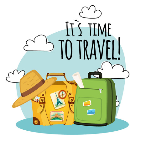Its Time To Travel Baggage Cloud Background Vector Image 일러스트