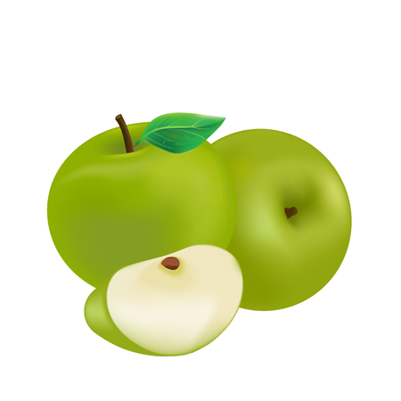 Fruit Icon Green Apple White Background Vector Image 向量圖像