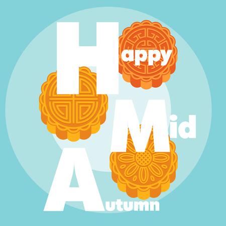 Happy Mid Autumn Moon Cake Background