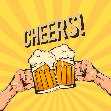 Cheers Twee Handen Houden Een Glas Bier Vector Afbeelding