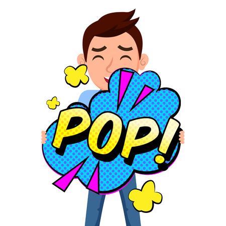 Pop Art Pop Bubble Man Background Vector Image Illustration
