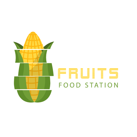 Fruits Food Station Cutting Corn Background Vector Image  イラスト・ベクター素材