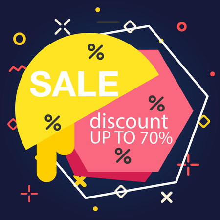 Sale Discount Up To 70% Hexagon Background Vector Image Illustration