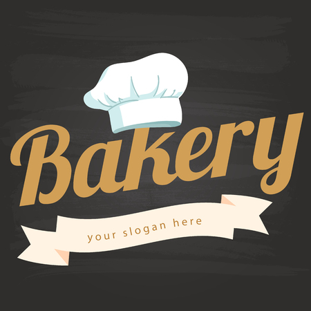 Bakery Ribbon Chef Hat Icon Background Vector Image Illustration
