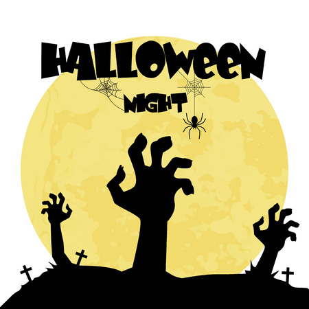 Halloween Night Zombie Hand In A Grave Background Vector Image  イラスト・ベクター素材