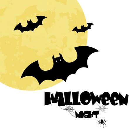 Halloween Night Bats Full Moon Background Vector Image