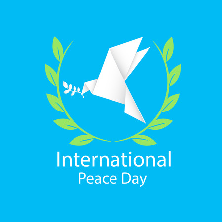 International Peace Day Origami Dove Birds Olive Branch Vector Image