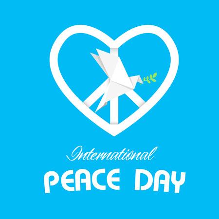 International Peace Day Peace Symbol Origami Dove Bird Vector Image Ilustração