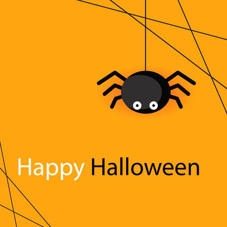 Happy Halloween Spider Web And Spider Orange Background Vector Image Illustration
