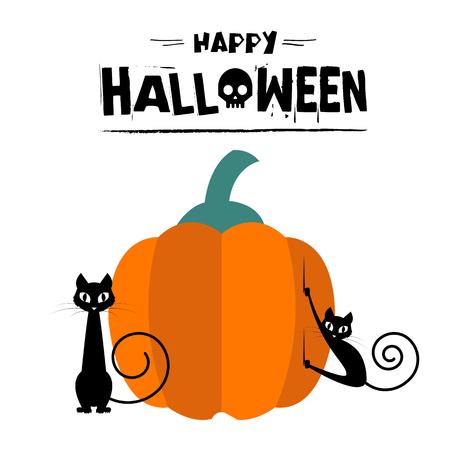 Happy Halloween Cats Pumpkin Background Vector Image