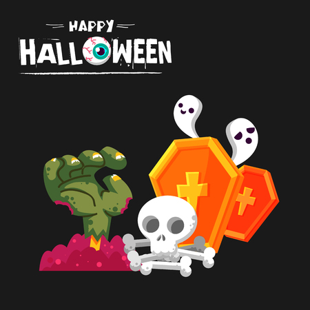 Happy Halloween Monster Hand Skull Gravestone Background Vector Image