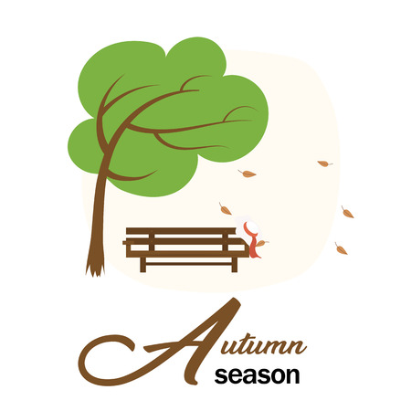 Autumn Season Garden Wood Chair And Tree With Falling Leave Vector Image Illustration