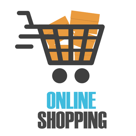 Online Shopping Chart Design White Background Vector Image