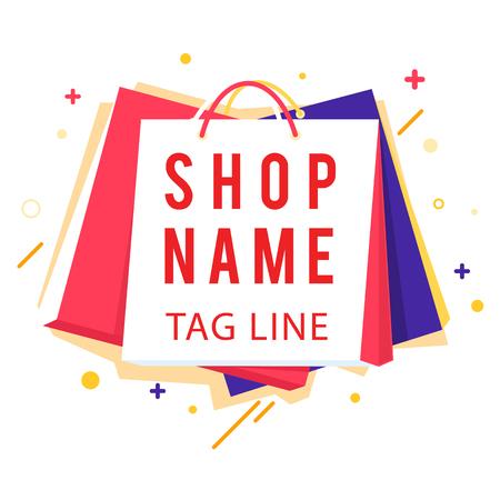 Shop Name Tag Line Colorful Shopping Bag Vector Image Illustration