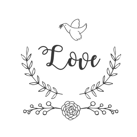 Love Bird Flower Grass Background Vector Image