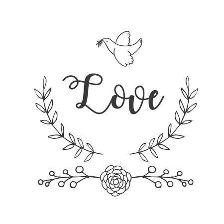 Love Bird Flower Grass Background Vector Image