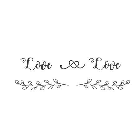 Love And Love Grass Background Vector Image Illustration