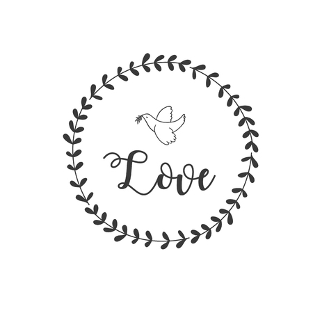 Love Bird Grass Circle Frame Background Vector Image