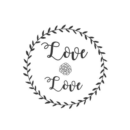 Love Love Rose Grass Circle Frame Background Vector Image