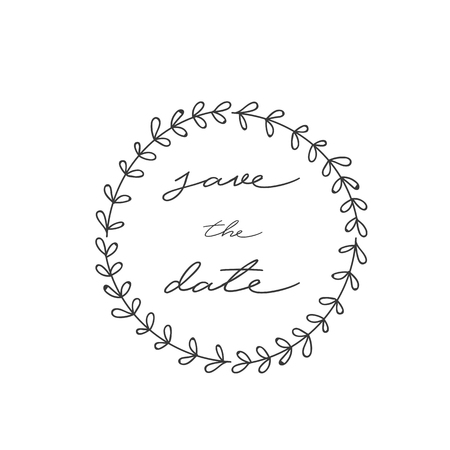Love The Date Grass Circle Frame Background Vector Image Illustration