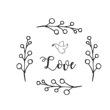 Love Bird Grass White Background Vector Image Illustration