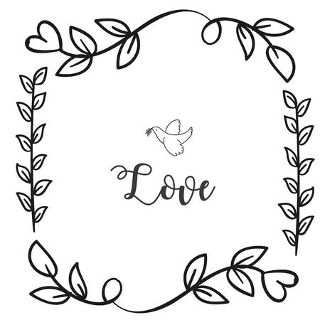 Love Bird Flower Grass Square Frame White Background Vector Image